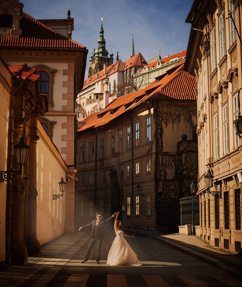 Prague love story engagement photo session